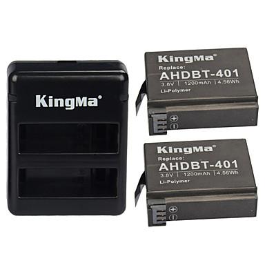 kingma® 2db rechargebale ahdbt-401 akkumulátor 1200mAh + Dual USB töltő GoPro hős 4 fekete Siler fényképezőgép akkumulátor