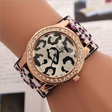 Жен. Модные часы Имитация Алмазный Кожа Группа Матовый черный Синий / Красный / Зеленый