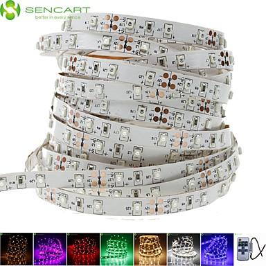 billige LED Strip Lamper-SENCART 5 m Fleksible LED-lysstriper 300 LED 3528 SMD Varm hvit / Hvit / Rød Kuttbar / Koblingsbar / Passer for kjøretøy 12 V 1pc / Selvklebende