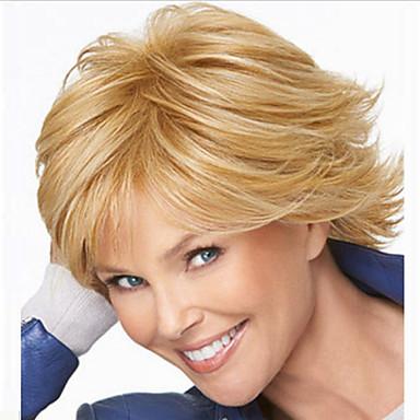 Syntetiske parykker Rett Gull Asymmetrisk frisyre Syntetisk hår Naturlig hårlinje Gull Parykk Dame Mellemlængde Lokkløs Blond