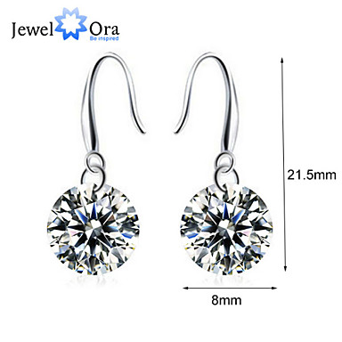 Fashion Drop Eearrings For Lady Vivid Rhodium Plated CZ Drop Earrings For Women