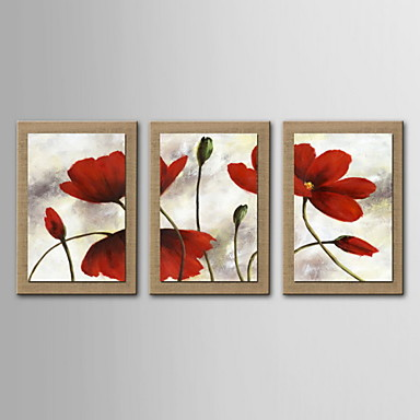 Oil Painting Decoration Abstract Flowers Hand Painted Canvas with Stretched Framed - Set of 3