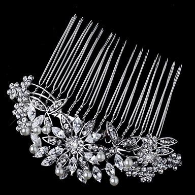 серебристый кристалл сплав волосы расчесывает цветы головной убор элегантный стиль