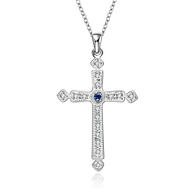 Damen Kreuz Gestalten Modisch Halsketten Anhängerketten Anhänger Statement Ketten Synthetische Edelsteine Sterling Silber Zirkon
