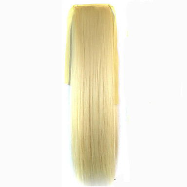 Strandblond (#613) syntetisk Hestehale مستقيم Micro Ring Hair Extensions Hestehale 22inch gram Medium (90g-120g) Mengde