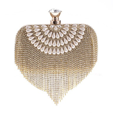 Women Bags Polyester Evening Bag Crystal/ Rhinestone for Event/Party All Seasons Gold Silver