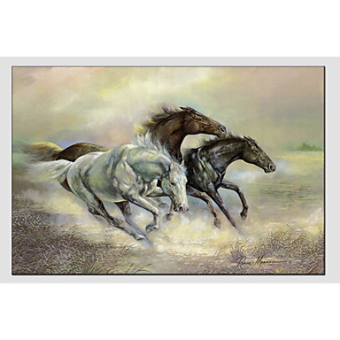 Hand-Painted Animals Horizontal, Modern European Style Canvas Oil Painting Home Decoration One Panel