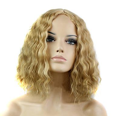 Sentetik Saç peruk Dalgalı Bonesiz Doğal Peruk Sarışın