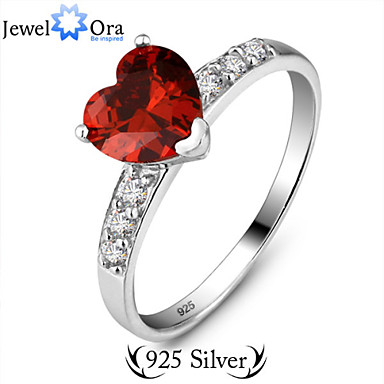 Women's Band Ring Wine Sterling Silver Heart Love Fashion Party Costume Jewelry