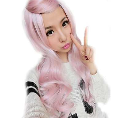 Synthetic Hair Wigs Curly Ombre Hair With Bangs Capless Lolita Wig Pink