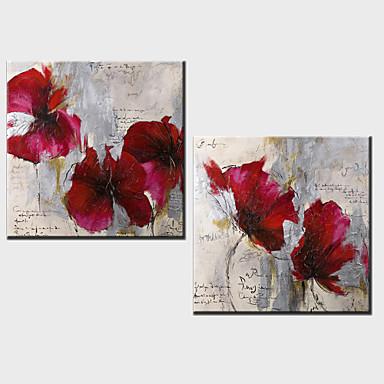 2 seti - gergin çerçeveli ile yağlıboya dekorasyon soyut çiçekler el boyalı tuval