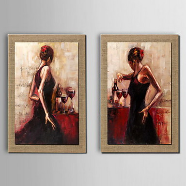 Hand-Painted People Horizontal, Traditional Oil Painting Home Decoration Three Panels