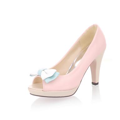 Damen Schuhe Kunstleder Sommer Herbst Komfort Neuheit High Heels Stöckelabsatz Peep Toe Schleife für Normal Kleid Weiß Gelb Blau Rosa