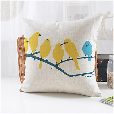 Country Style Birds Party Pattern Cotton/Linen Decorative Pillow Cover