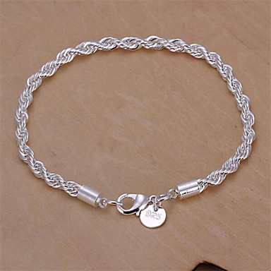 Women's Sterling Silver Snake Chain Bracelet - Basic Fashion Geometric Jewelry Silver Bracelet For Wedding Party Daily