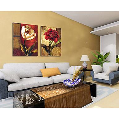Innrammet Oljemaleri Blomstret/Botanisk Olje Maleri Veggkunst, Akryl Materiale med ramme Hjem Dekor Rammekunst Stue