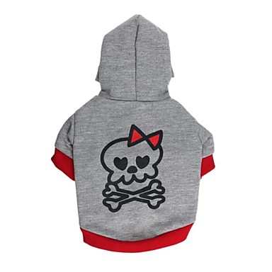 Cat Dog Hoodie Dog Clothes Cute Casual/Daily Skull Gray/Red Black/Gray Costume For Pets