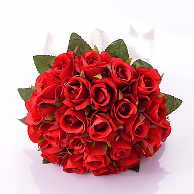 Esküvői virágok Kör Rózsák Csokrok Esküvő Parti /Estélyi Szatén Kb. 30 cm