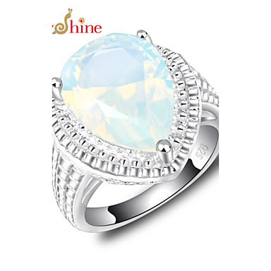 Men's Women's Statement Ring Moonstone Silver Fashion Party Costume Jewelry