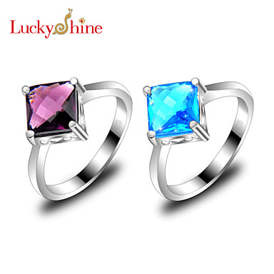 Men's Women's Statement Rings Fashion Silver Topaz Square Geometric Jewelry Party