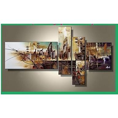 Kézzel festett Absztrakt bármilyen forma Vászon Hang festett olajfestmény lakberendezési Négy elem
