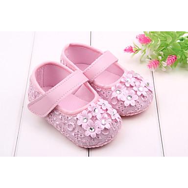 voordelige Babyschoenentjes-Meisjes Eerste schoentjes Platte schoenen Strass / Magic tape Zwart / Wit / Roze Lente zomer