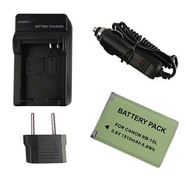 12L 1910mAh  Camera Battery + EU Plug + Car Charger for Canon G1X Mark II N100 MINI X