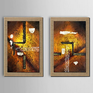 Oil Painting Decoration Abstract Hand Painted Natural linen with Stretched Framed - Set of 2