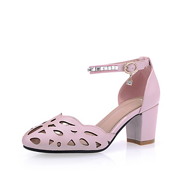 Women's Shoes Synthetic Microfiber PU PU Spring Summer Basic Pump Heels Chunky Heel Round Toe Buckle Hollow-out For Wedding Casual Dress