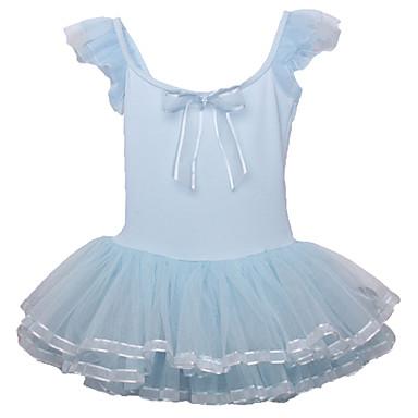 Balé Vestidos Crianças Apresentação Algodão Poliéster Elastano Arco(s) Dobras em Cascata 1 Peça Manga Curta Vestido
