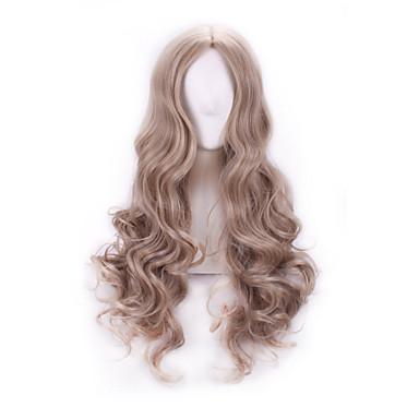 Sentetik Saç peruk Dalgalı Bonesiz Uzun Kahverengi