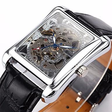 WINNER Herrn Armbanduhr Mechanische Uhr Automatikaufzug Schwarz Transparentes Ziffernblatt Analog Luxus - Silber Golden