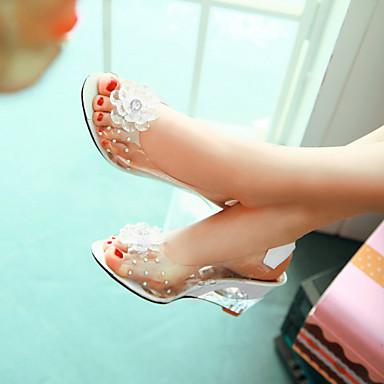 povoljno Ženske sandale-Žene Sandale platforme Translucent Heel / Wedge Heel Biser Umjetna koža Proljeće / Ljeto Bijela / Crvena / Plava / EU41