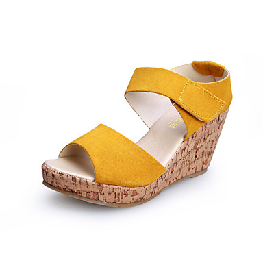 Women's Shoes  Wedge Heel Wedges/Heels/Platform/Comfort/Open Toe Sandals Casual Black/Yellow/Purple/Beige