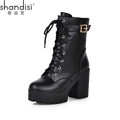 f2360be3b62 Women s Shoes Faux Leather Chunky Heel Platform Combat Boots Round Toe Boots  Outdoor