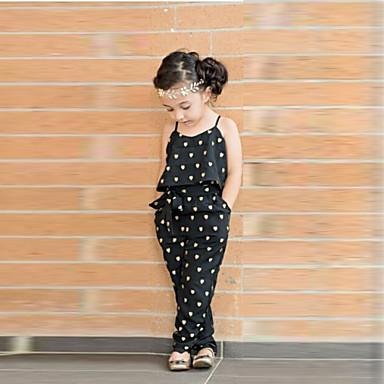 Baby Pige Sød Stil Daglig Hjerte Trykt mønster Uden ærmer Overall og jumpsuit Sort