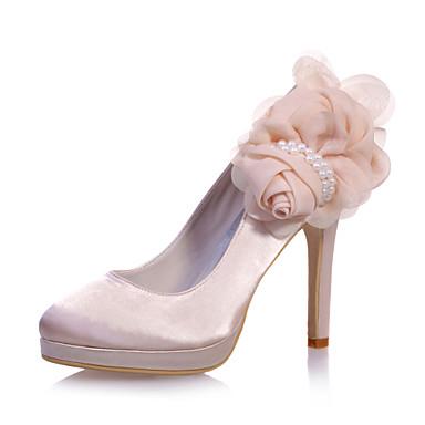 Damen Schuhe Satin Frühling Sommer Stöckelabsatz Blume für Hochzeit Party & Festivität Silber Purpur Blau Champagner Elfenbein