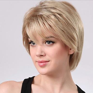 жен. Парики из искусственных волос Без шапочки-основы Короткий Прямые Блондинка Карнавальные парики