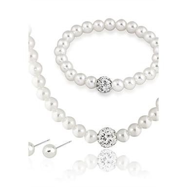 Mulheres Pérola Conjunto de jóias 1 Colar 1 Par de Brincos 1 Bracelete - Euramerican Fashion Redonda Branco Conjunto de Jóias Colar com
