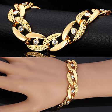 abordables Bracelet-Chaînes Bracelets Bracelets Vintage Homme Chaîne Figaro Chunky Solitaire Diamant synthétique Strass Platiné Plaqué or Gros Fantaisie dames Personnalisé Mode Dubai Tous les jours Bracelet Bijoux