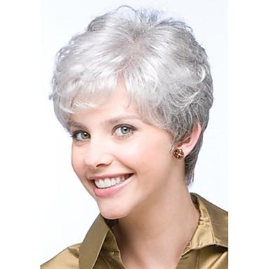 Syntetiske parykker Krøllet Pixiefrisyre / Med lugg Syntetisk hår Side del / limfrie Hvit Parykk Dame Kort Naturlig parykk Lokkløs