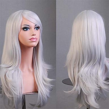 Искусственные волосы парики Кудрявый Без шапочки-основы Белый