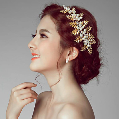 Imitation Pearl Alloy Flowers Headpiece