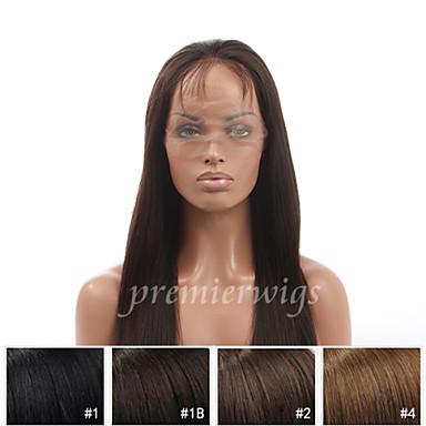 Echthaar Vollspitze Perücke Glatt Perücke 130% Natürlicher Haaransatz / Afro-amerikanische Perücke / 100 % von Hand geknüpft Damen Kurz / Medium / Lang Echthaar Perücken mit Spitze / Gerade