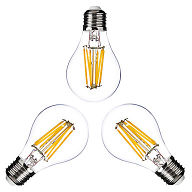 ONDENN 3pcs 2800-3200 lm E26/E27 LED Filament Bulbs G60 6 leds COB Dimmable Warm White AC 110-130V AC 220-240V