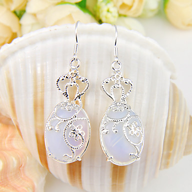 Women's Drop Earrings Crystal Silver Plated Oval Jewelry Wedding Party Daily Casual Sports
