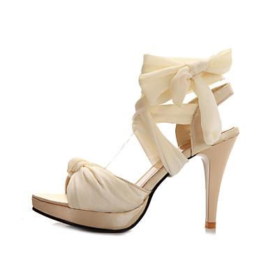 Damen Schuhe Kunstleder Sommer Stöckelabsatz Schnürsenkel Für Kleid Schwarz Beige Rot Grün