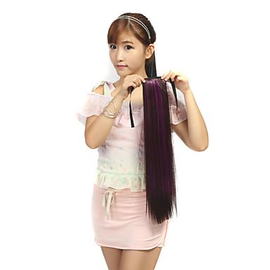Gerade Synthetik Haarstück Haar-Verlängerung 18 Zoll Regenbogen