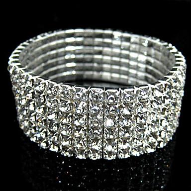 Armreife - Strass, Diamantimitate Retro, Party, Brautkleidung Armbänder Silber Für Weihnachts Geschenke Hochzeit Alltagskleidung