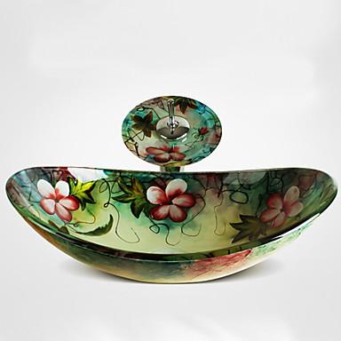 Современный Прямоугольный Раковина Материал является Закаленное стекло умывальник для ванной смеситель для ванной монтажное кольцо для